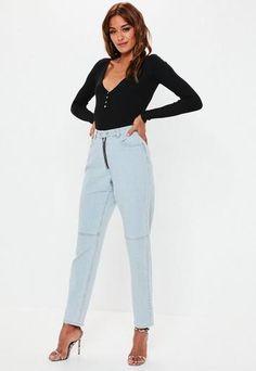 9f1f8e17af28 Light Blue Riot Double Popper Mom Jeans