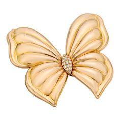 Van Cleef & Arpels Diamond Gold Butterfly Pin