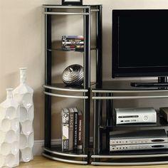 Black Corner Media Tower Fine Furniture Coaster Wall Unit Storage Cabinets