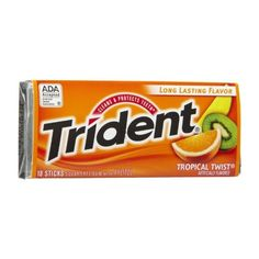 TRIDENT TROPICAL TWIST SUGAR FREE CHEWING GUM 18 STICK PACK AMERICAN ($2.11) ❤ liked on Polyvore featuring food
