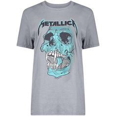 Boohoo Isobel Metallica Licence Print T-Shirt ($24) ❤ liked on Polyvore featuring tops, t-shirts, long sleeve crop top, long sleeve tees, basic tees, crop t shirt and ribbed tee