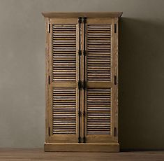 RH& Shutter Double-Door Cabinet:Angled louvers, an architectural detail first used in ancient Greece, have found a new place in the home. Office Restoration, Restoration Hardware, Furniture Vanity, Cool Furniture, Furniture Projects, Country Furniture, House Furniture, Furniture Plans, Antique Furniture