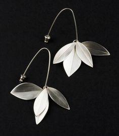 "Kathleen Faulkner: Double Leaf, Earrings in sterling silver. 2.5"" in length."