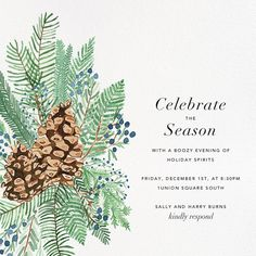 Pine and Juniper by Paperless Post. Send custom online holiday party invitations with our easy-to-use design tools and RSVP tracking. View more holiday invitations on paperlesspost.com. #evergreen #pine #pinecone #winter #celebrate