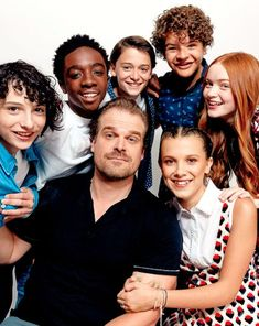 Finn Wolfhard, Caleb McLaughlin, Noah Schnapp, Gaten Matarazzo, Sadie Sink, David Harbour and Millie Bobby Brown from Netflix's 'Stranger Things