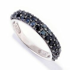Gem Treasures Sterling Silver 1.19ctw Black Spinel Stack Ring
