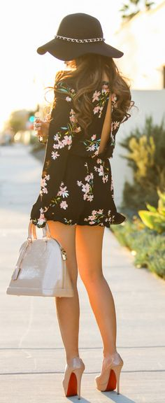 Summer Style: Floral Romper, with floppy hat, with some nude heels Off to the horse races :) Give me a little more length...