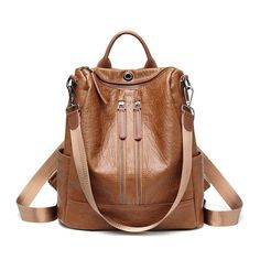 Women Solid Travel Leisure Soft Leather Multi-function Backpack Large Capacity Shoulder Bag shows femininity. Shop on NewChic and buy yourself the best women backpack. Leather Backpack Purse, Backpack Bags, Leather Purses, Crossbody Bag, Travel Backpack, Leather Backpacks, Leather Bag, Mini Backpack, Canvas Leather