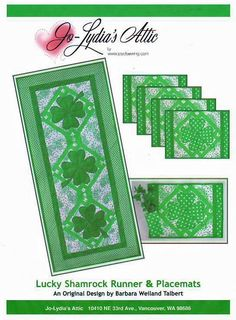 Quilt Pattern: Lucky Shamrocks Table Runner and Place mats feature appliqued shamrocks on simple background blocks. The pattern is available as a PDF download at www.craftsy.com