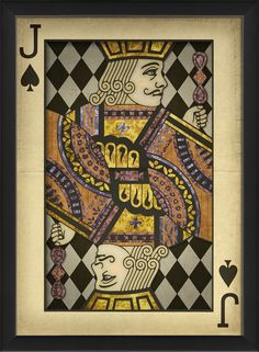Jack of Spades Harlequin Playing Card Framed Graphic Art