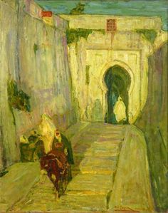 """""""Entrance to the Kasbah,"""" Henry Ossawa Tanner, 1912, oil on wood pulp paper mounted on canvas, 32 x 26"""", Art Museum of Greater Lafayette."""