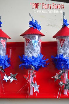 "4th of July ""POP"" party favors! A plastic push pop container filled with ""pop-it's""! Perfect for the kids at parades, firework shows, bbq's, etc! Tutorial and FREE 'pop' mini flag banner at www.karaspartyideas.com #4th #july #party #favors #ideas #firecracker"