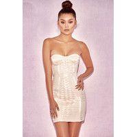 'Malone'  Champagne Strap Elastic Bustier Dress