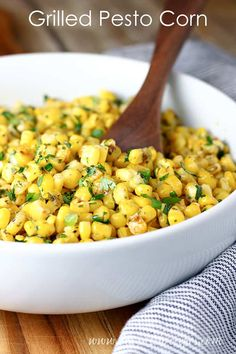 GRILLED PESTO CORN RECIPE — Fresh grilled corn kernels are tossed with pesto and herbs in this simple summer side dish that will have everyone coming back for seconds! Corn Recipes, Side Dish Recipes, Healthy Recipes, Yummy Recipes, Recipies, Chicken Thigh Recipes, Grilled Chicken Recipes, Vegetable Side Dishes, Vegetable Recipes