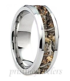 Titanium Mens Camouflage Ring Silver Mossy Oak Hunter Hunting Camo Wedding Band #8mmComfortFitBand