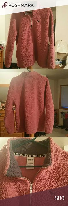 PINK VS Sherpa Jaclet Victorias Secret PINK begonia sherpa jacket, flattering zip placket, very soft, fluffy, need I say more?  (new without tags) Victoria's Secret Jackets & Coats