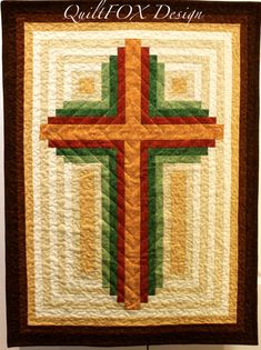 Log Cabin Christian Cross-multiple sizes (wall hanging and lap) Cross Patterns, Quilt Block Patterns, Pattern Blocks, Quilt Blocks, Log Cabin Quilt Pattern, Log Cabin Quilts, Hanging Quilts, Quilted Wall Hangings, Quilting Projects