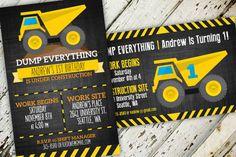 Construction Birthday Invitation   Dump Everything   Create&Capture