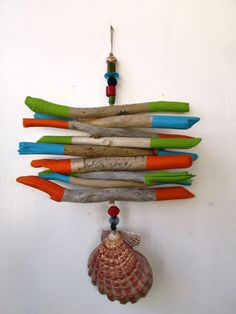 Painted Driftwood, Shell, Bead Mobile, Beach Mobile, Beach Home Decor with Wooden Beads READY TO SHIP