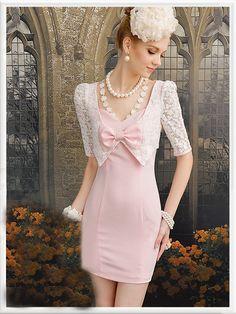 Morpheus Boutique  - Pink Lace Bow Trendy Princess Pencil Dress, $69.99 (http://www.morpheusboutique.com/products/pink-lace-bow-trendy-princess-pencil-dress.html)