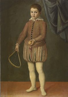 Circle of Sofonisba Anguissola, Portrait of a boy holding a tennis racket and ball, wearing a pink slashed doublet and hose, century (source: Sothebys) Renaissance And Reformation, 16th Century Clothing, Tudor Costumes, Le Tennis, Italian Baroque, Portraits, Theatre Costumes, Medieval, Historical Clothing
