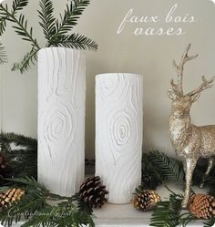 DIY Faux Bois Vases DIY tree bark vase ♥ I want to do this! Modern Holiday Decor, Holiday Decorations, Diy Confetti, Bois Diy, Felt Ball Garland, Home And Deco, Diy For Girls, Diy Projects To Try, Fall Projects