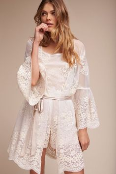 02f534d19b3f Lace Bridal Robe, Bridal Robes, Wedding Lingerie, Honeymoon Lingerie, Satin  Sleepwear,
