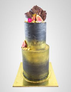 Black & Gold two tiers cake with figs, almonds and chocolate topping.  Custom made cake by Passiontree Velvet