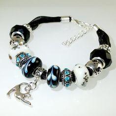 European Charm Bead Bracelet Handmade Black White by BekisBeads