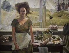 I think there's a Flock of Corvids waiting for the Pies to cool..... by Andrea Kowch