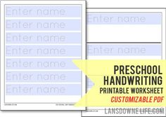 Preschool handwriting printable worksheet (Customizable PDF) — lansdownelife.com