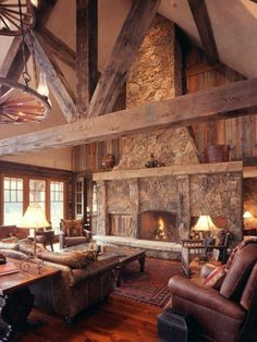 Nice fireplace feel. Wood stone combo feels warm.