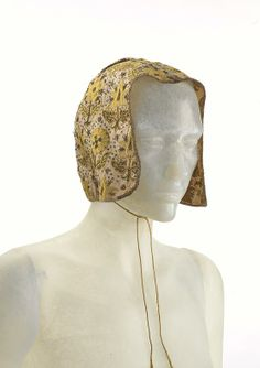 Coif, linen, silk thread, metallic thread and spangles, late 16th century, English.