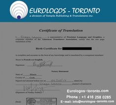 We provide best & cheap certified #document_translation services in Toronto. Our certified translation including translation of Birth, Marriage, Immigration, Legal, Certificate translation and many more. For more information, contact us at www.Eurologos-toronto.com