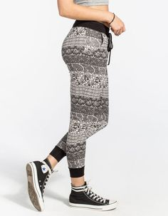 Full Tilt Paisley Ethnic Print Womens Jogger Pants Black/Grey In Sizes Jogger Pants, Joggers, Harem Pants, Ethnic Print, Pants Outfit, Black Pants, Amazing Women, Paisley, Black And Grey