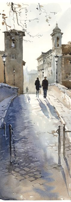 Igor Sava The neutral colours give a lovely atmosphere to the painting, combined with the fading of the background, suggesting an afternoon haze. The branches and gate nicely frame the top and bottom of the image, and the people provide a good focal point, without being overly detailed.