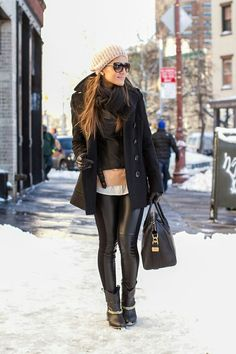 Inspiration: ( Seattle in winter) My leather pants, booties, beanie .. very cute!