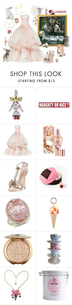 """""""Party Crasher"""" by juliabachmann ❤ liked on Polyvore featuring Aaron Basha, Sixtrees, Maticevski, Benefit, Dsquared2, Harrods, Amour, Sophia Webster, Teapigs and Judith Leiber"""
