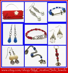 Red, white and blue handmade jewelry.  SHOP: https://www.etsy.com/shop/MyCreativeSideJewels