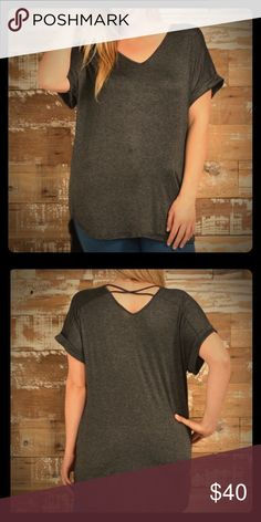 Plus size Slate gray criss cross back high/low tee Plus size slate gray criss cross back high/low tee generous coverage in front and back. Can be worn with leggings super cute Bellino Clothing Tops Tees - Short Sleeve
