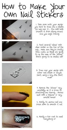 How To Make Your Own Nail Stickers....love this!!!!  Great technique for those of us who stink at painting our dominant hand!!!