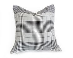 Plaid Pillow Black White Grey Throw Pillows by PillowThrowDecor, $36.00
