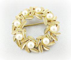 Vintage Gold Leaf Brooch Pin Designer AVON by RedGarnetVintage