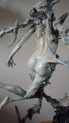 #Bronze #sculpture by #sculptor Scott Shore titled: 'Ribbons of Bone (Bronze nude Fleeing Nymph sculptures)'. #ScottShore
