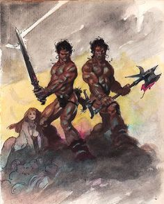 "#FrankFrazetta ""Barbarian Brothers"" Preliminary Sketch accomplished in pencil and watercolor •1980s• ••••••••••••••••••••••••••••••••••••••••••• #Frazetta #Painting #Watercolor #FantasyArt #Art #Barbarian #SciFi #Fantasy #Sketch #Pencil #Illustration #HeavyMetal #80s"