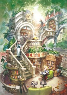 Library cafe by ~matsukitchi on deviantART