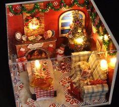 Kits Wood Dollhouse Miniature DIY Dolls House Craft Toy Xmas Gift Christmas Eve for sale online Diy Christmas Room, Christmas Minis, Christmas Deco, Christmas Crafts, Doll House Crafts, Doll Houses, Diy Dollhouse, Dollhouse Miniatures, Navidad Diy
