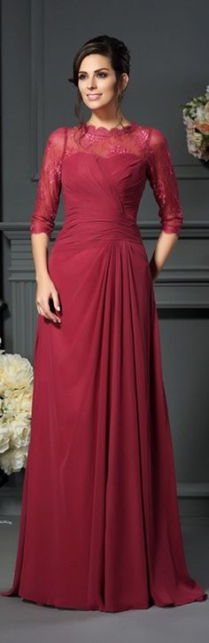 Burgundy lace high neck chiffon mother of the bride dress. Chiffon dress is nice for summer occasions. Not like this red? Pick your own color and size by our custom-made service