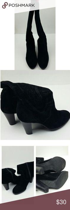 """DIEGO DI LUCCA black suede boots size 7.5 In good condition, worn a handful of times, minimal signs of wear, embroidery details, zipper, 3.25"""" heel, 11"""" ankle, 14.5"""" top, 14"""" heel to top. Diego Di Lucca Shoes Heeled Boots"""
