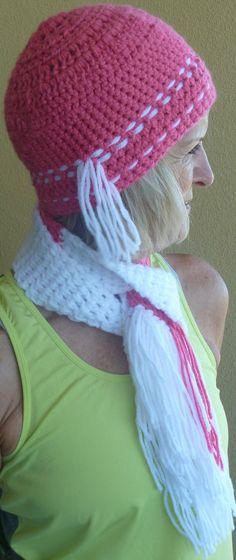 Girl Crochet Small Hat and Scarf Set Pink White by hatsbyanne1942
